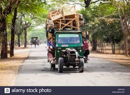 Small Truck Carrying Large Load Of Furniture, Bagan, Myanmar Stock ...
