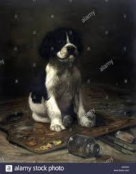 Color Print Of A Black And White Puppy Standing On Painters Palette Paint Brushes Underneath Titled My Model Art By Rogers Published L Prang