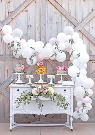 Gorgeous Rustic Dessert Table With Balloon Garland