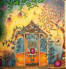 The Secret Garden Adult Coloring Book CLOSE UP Of Left Side Gazebo Two Page Spread