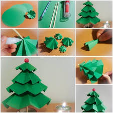 We Can Make A Small Tree With The Help Of Folding Paper Art Have Used Thick Stick And Then Made Four Different Sized Papers