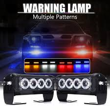 100 Truck Strobe Lights 2Pcs 8 LED Car Emergency Light Grille Bar Police
