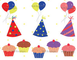 Birthday Clipart Clip art Birthday Party Hats balloons cupcakes celebration red yellow pink blue green purple