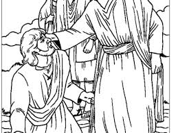 Blind Bartimaeus Coloring Pages View Larger Jesus Heals A Man