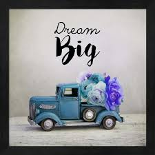 100 Big Blue Truck Dream And Flowers By Color Me Happy Framed Wall