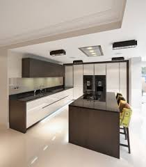 a luxurious kitchen set in a open plan area of an expensive new