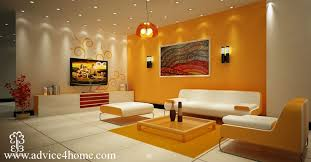 yellow living room with modern ceiling light
