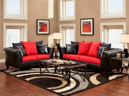 Black Leather Sofa Decorating Pictures by Living Room Spacious Living Room Design With Red Wall Color And