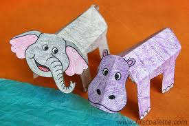 Folding Paper Hippo And Elephant