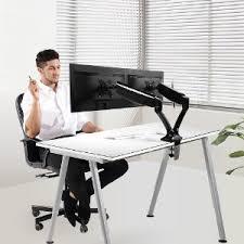 amazon com loctek dual monitor arm desk monitor mounts fits 10
