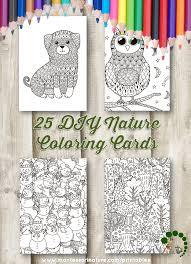 25 DIY Nature Coloring Cards