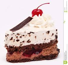 Chocolate cake with cherry on the top icing isolated Royalty Free Stock