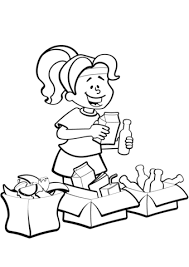 Click To See Printable Version Of Woman Is Sorting Garbage For Recycling Coloring Page