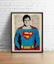Vintage Superhero Wall Decor by Superman Art Print Super Man Hero Poster Retro Vintage
