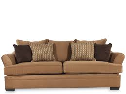 Furniture Mocha Fabric Sofa With Arms And Double Seats Connected By Black Cushions