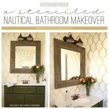 A Stenciled Nautical Bathroom Makeover