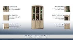 esszimmerschrank vitrine 110 cm breit optik sonoma eiche