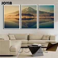 Japan Mount FUJI Wall Art 3 Piece Nature Mountain And Peaceful Lake Canvas