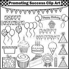 Birthday Clipart mercial Use Balloons Cake Party Hats SPS