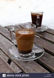 Two Turkish Coffee Glass Cups Black And With Milk