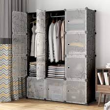 KOUSI Portable Closet Clothes Wardrobe Bedroom Armoire Storage Organizer With Doors Capacious Sturdy Black 6 Cubes 2 Hanging Sections