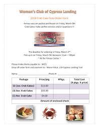 Cypress Landing HOA Announcements 2018 Crab Cake Order Form