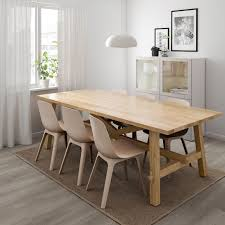 möckelby odger table and 6 chairs oak white beige ikea