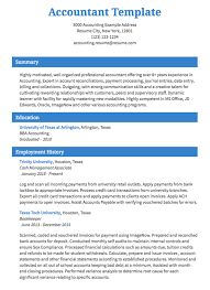 Example Of Resume Accountant