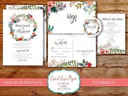 Boho Wedding Invitation Wreath Rustic Spring Printable Invite