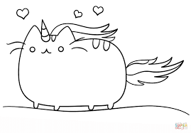 Unicorn Coloring Pages Kawaii Cat Page Free Printable Picture