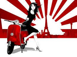 Women Japan France Vespa Digital Art Artwork 1600x1200 Wallpaper HD