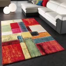 bunter moderner teppich fürs wohnzimmer