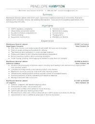 Example Of Resume Objective For General Laborer With Sample