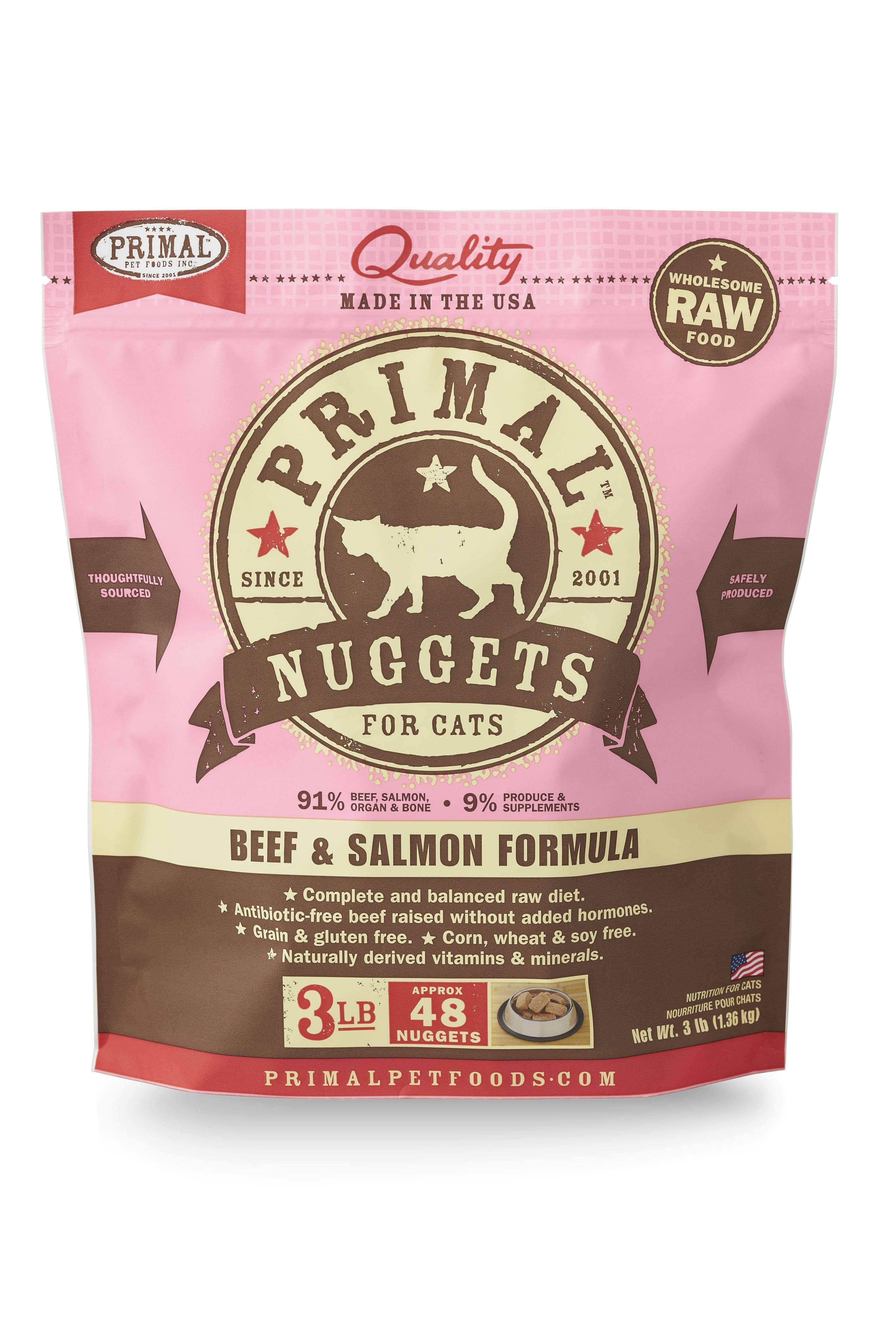 Primal Pet Foods Raw Cat Nuggets - Beef & Salmon