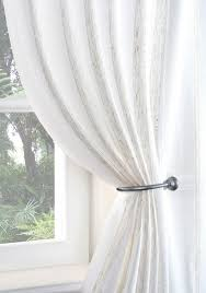 boucle stripe voile curtain panel cream free uk delivery