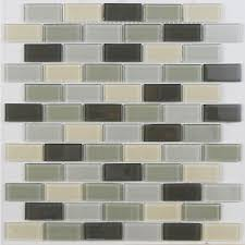 Lowes Canada Bathroom Floor Tile by Avenzo 12 In X 12 In Avenzo Mosaic Gray Glass Wall Tile Lowe U0027s