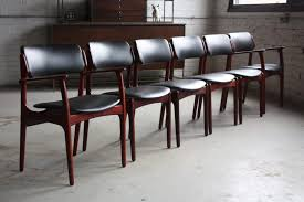 Mid Century Modern Chrome Leather Chair Teak Dining Room Set Chairs