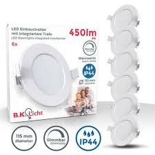 b k licht led einbaustrahler bkl1276 6er set led bad einbauleuchten stufenlos dimmbar ultra flach 30mm ø115mm weiß 6 x 6w led platinen 6 x 450
