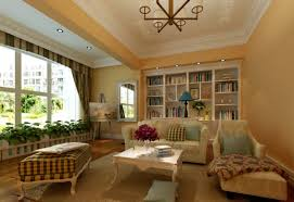 Living Room A Modern Simple Rustic Ideas In Soft Yellow With Big Bookshelf Mirrors Painting Lounge And Couchs On Cream Carpet