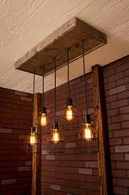 lighting fascinating industrial chandelier with wood hanging and