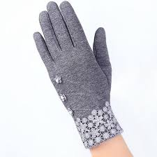Fashion Elegant Womens Touch Screen Gloves Winter Ladies Lace Warm Cashmere Bow Full Finger Mittens Wrist