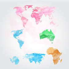 Watercolor World Map Vector Graphics Creative Market For