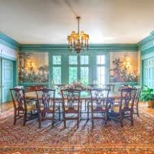 Green Traditional Dining Room With Rug