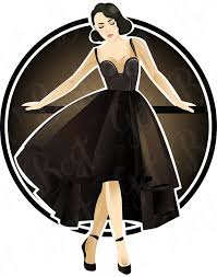 Woman In Black Dress Clipart Vector Art Fashion Women Clip Digital Download PNG 300dpi Illustration From Gettobest On