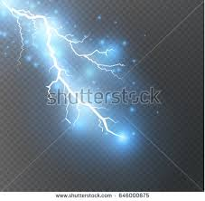 Vector Electric Lightning Bolt Energy Effect Bright Light Flare And Sparks On Transparent Background