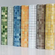 Buy Bathroom Wall Stickers PVC Mosaic Wallpaper Kitchen Waterproof Tile Plastic Vinyl Self Adhesive Papers Home Decor Blue Online At Low