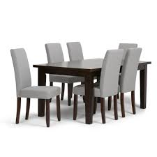 Simpli Home Acadian 7-Piece Dining Set With 6 Upholstered Parson ... Ding Room Interesting Chair Design With Cozy Parson Chairs Slauson Dinette With Brown Sets Best Home Furnishings 9800e Odell Parsons Side Antonio Set W Berkley Muses 5piece Rectangular Table By Progressive Fniture At Wayside Simple Living Giana Details About Master Shiloh Modern Bi Cast Of 4 5 Piece And Hillsdale Wolf Gardiner Better Homes Gardens Tufted Multiple Lovely For Ideas