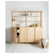 ivar 2 section shelving unit w cabinet pine width 68 1 2