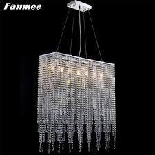 klar kristall moderne kronleuchter licht led minimalistischen rechteckigen cristal kette hängen le deco wohnzimmer esstisch