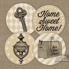 Housewarming Cupcake Toppers Printable Vintage House Warming